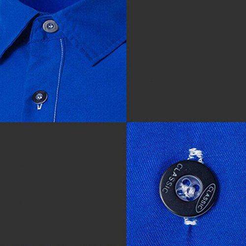 Honghu Homme Casual Chemise Slim Fit Manches Longues Joker Bleu ciel