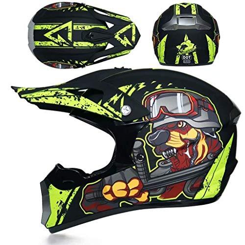 ZHANG-TK Motorrad-Integralhelm, Motocross-Helm (einschließlich Helm, Schutzbrille, Gesichtsmaske, Langlaufhandschuhe, Insgesamt Vier Sätze) (Color : 3, Size : S55~56CM)