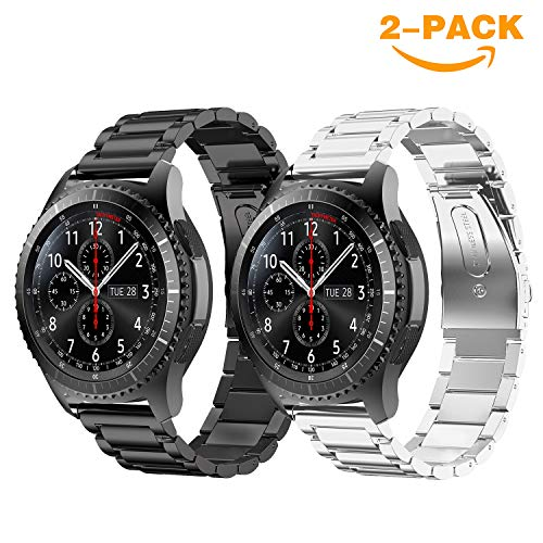 YaYuu Samsung Galaxy Watch 46mm/Gear S3 Frontier/Classic Armband, 22mm Edelstahl Metall Ersatz Verstellbare Uhrenarmbänd Strap Sports Armband für Samsung Gear S3 Frontier/Classic Fitness Smart Watch Galaxy Metall