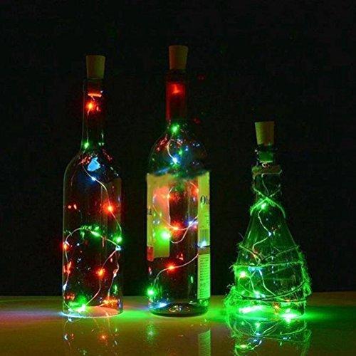 (LEDMOMO Flaschen Lichter Kork Lichterketten Wasserdichte Kupfer Lichterketten für Wein Weihnachten Halloween Decor Party Hochzeit 100 cm (Bunte Licht))