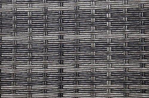 Loungebank, Gartenbank, Balkonbank, Terrassenbank, Rattanbank, Rattan, Polyrattan, Aluminium, mit Sitzkissen, grau, schwarz, B/H/T 195/82/100 cm - 2