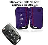 Hülle für VW Golf 7 GTI MK7 3-Tasten Autoschlüssel - Silikon Schlüssel Schutzhülle in Schwarz - Etui Schlüsselhülle Cover für Klappschlüssel (tiefblau)