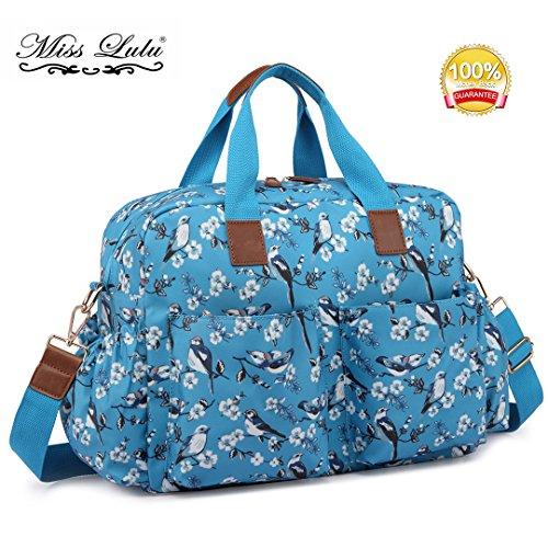 Miss Lulu 4Stück Fashion Vogel Blume Muster Baby Windel Windel Wickeltasche Set Big Handbag Wachstuch Tasche 1501-16bird Blue