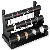 Deuba Schmuckständer Schmuckhalter Armbandständer Uhrenständer für Schmuck Uhren Armband Ketten, schwarz Leder-Optik