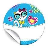 JuNa-Experten 48 Aufkleber Katze für Geschenkverpackung / Sticker für Verpackung vom Gastgeschenk Beim Geburtstag Hochzeit Kindergeburtstag Fest