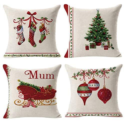 Gspirit retro natale 4 pack cuscini per divani decorativo cotone biancheria cuscino copricuscini divano caso federa per cuscino 45x45 cm