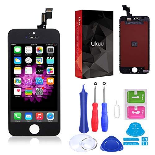 ukuu Écran LCD et vitre Tactile de Rechange pour iPhone 5C + Kit d'outils Complet pour Une Installation Facile (5c Noir)
