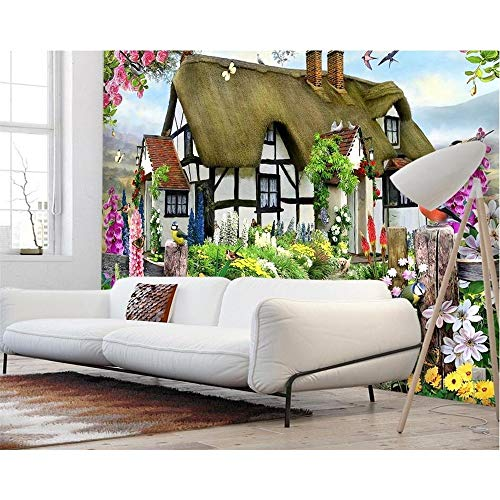 Finloveg Custom Wallpapers Gorgeous Pastoral English Country Cottage Rose Garden Children'S Room Tv Backdrop Mural 3D Wallpaper-250X175Cm English Country Rose