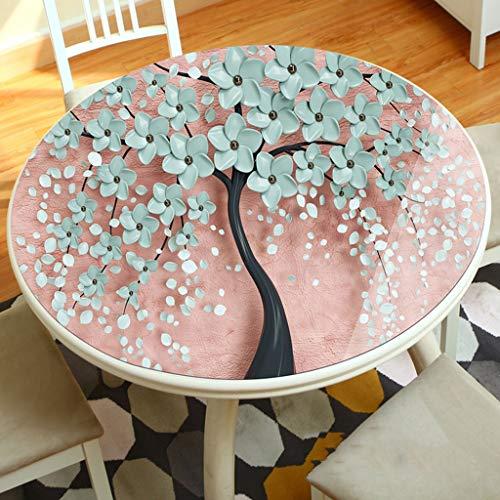 LULU LLH PVC-weiche Tischdecke, runde 3D-Tischmatte, Wasserdichte und ölbeständige Einweg-Tischdecke, Dicke, weiche Kunststofftischdecke ZHUOB (Farbe : D, größe : 110cm)