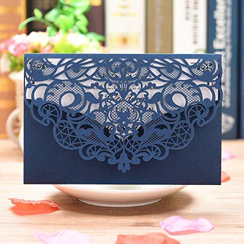 CYSKY Hochzeit Einladungskarte 50 Pack Laser Cut Rechteck Einladungen Kit mit leerem bedruckbarem Papier und Umschläge für Hochzeit Geburtstag Graduation (Blau)