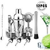 HOBFU Cocktail Bar Set 12 Stück Cocktail Shaker Kit mit Bartender Professional Shaker, Sieb, Jigger, Liquour Pourers, Edelstahl