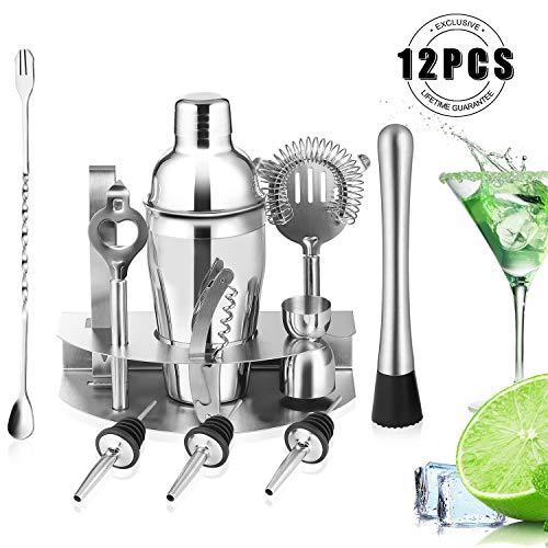 HOBFU Cocktail Bar Set Kit de coctelera de 12 Piezas con coctelera Profesional de Bartender, colador, Jigger, Licor Pourers, Acero Inoxidable