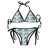 BIBIKINIS Melinda Ditmore Narwhals with Hats Fun-DIY Womens Sexy Comfortable Triangle Bikini Swimsuits for Summer