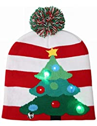 FUVOYA Llevó la luz hasta Navidad Sombrero Novedad Tejer Gorro Cap Invierno  Fiesta Chirstmas 0f3d09d9fde