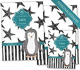 U-Heft Hülle SET Creative Royal Untersuchungsheft & Impfpasshülle wunderschöne Geschenkidee personalisierbar mit Namen und Geburtsdatum (U-Heft Set personalisiert, Pinguin)