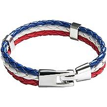 TRIXES Pulsera Brazalete Unisex Tejido Trenzado Tema Francés Tricolor 3 Colores Rojo Blanco Azul para el Día de la Bastilla y Celebraciones Nacionales