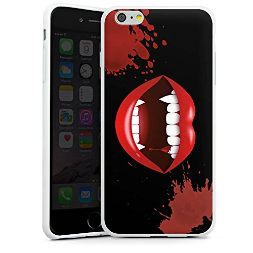 Apple iPhone 7 Plus Silikon Hülle Case Schutzhülle Vampir Halloween Lippen Silikon Case weiß