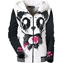 Killer Panda Capucha Panda Chaqueta con capucha Mujer blanco-negro