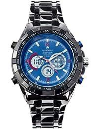 Globenfeld - Super Sport - Reloj de pulsera con 3 subdiales - Modo analógico y digital - Cronómetro y taquímetro - Gris metálico Resistente al agua hasta 30 metros (azul)