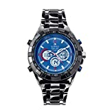 Globenfeld Super Sport Metal Men's Wrist Watch - Midnight Blue 3-Function Analog/Digital Display with Stopwatch and Tachymeter - Water Resistant to 30M - 60 Day Money Back Guarantee (Blue)