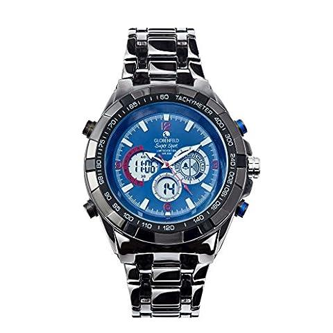 Globenfeld Super Sport - Armbanduhr mit Metallarmband - Analog-/Digital-Anzeige mit 3 Funktionen - Stoppuhr & Tachymeter - Wasserdicht bis 30 Meter –