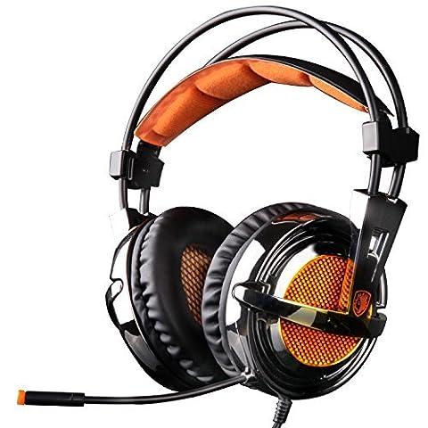 EasySMX Micro Casque pour PS4 PS3 Xbox 360 PC, Ecouteur Gaming Audio Stéréo Basse, Casque avec Microphone, Bien Anti-Bruit, Ultra-leger 270g et coussinet Souple Comfortable, Contrôleur ON/OFF Volume Key-Muet sur-ligne Pratique (Pas Compatible pour Xbox one)