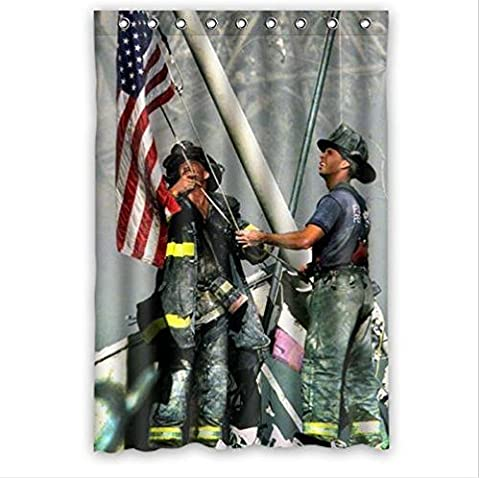 Hot Sale Firemen Raising Flag Design Fire Department Custom 100% Polyester Waterproof Shower Curtain 48 x 72