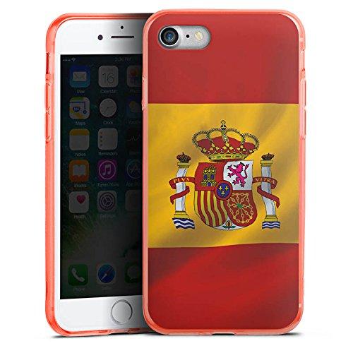 Apple iPhone 7 Silikon Hülle Case Schutzhülle Spanien Flagge Spain Silikon Colour Case neon-orange