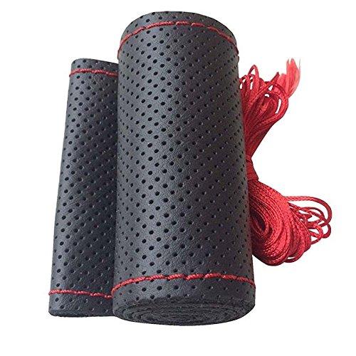 DaoRier 38 cm Schwarz Auto lenkradbezug Genuine Leather atmungsaktiv Anti-Rutsch für vier Jahreszeiten, Rope zufällige Farbe