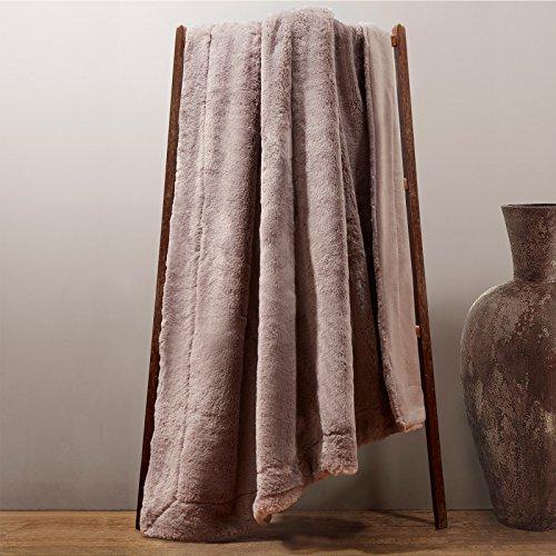 Dreamscene Savannah Couvre-lit en Fausse Fourrure Couverture, Gris, Single, 125 x 150 cm
