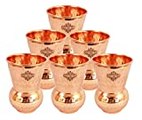 #10: IndianArtVilla Hammered Copper Glass Tumbler, Drinkware & Serveware Set,Yoga, 375 ML Each, Set of 6
