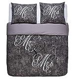 NIGHTLIFE - Bettwäsche/Bettbezüge Love Couple Grey - Grau - 140x200/220 - Mit 1 Kissenbezug 60x70