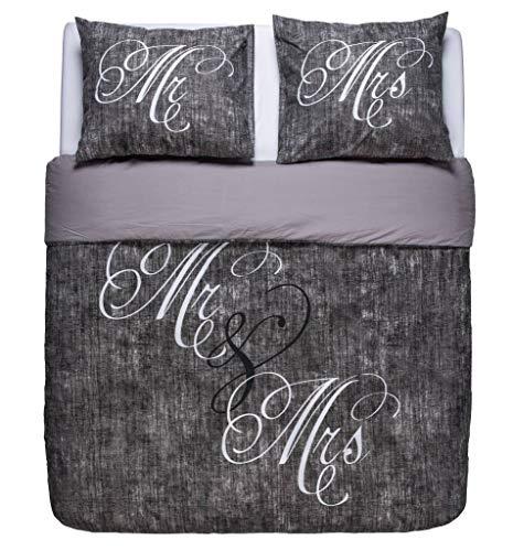 NIGHTLIFE Bettwäsche/Bettbezüge Love Couple Grey - Grau - 240x200/220 - Mit 2 Kissenbezüge 60x70