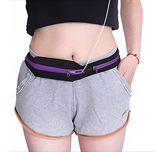 FOLLOWUS Mobiltelefone Wasserdichte Doppel Taschen Hüfttasche Mini Gürtel Taille Paket Im Freien Sport Gürteltasche Lauf Bags Laufgürtel Lila