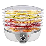 Homdox Dampfgarer Dörrautomat Früchtetrockner mit 6 Etagen (500 Watt Dörrgerät, einstellbare Temperatur, mit Timer programmierbar) weiß