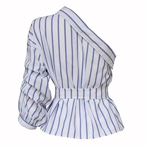 Sannysis Damen Off Shoulder Boho Chiffon- Bluse Weiß2