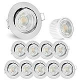 10er Set LED extra flache Decken Einbauleuchten rund - inkl. LED Modul 5W neutralweiß - Einbauspot Edelstahl Optik schwenkbar