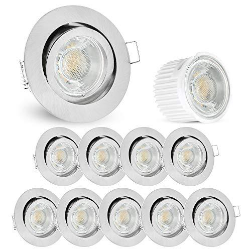 e LED Einbaustrahler flach (34mm) Downlight in rund schwenkbar Edelstahl Optik mit 5W LED Modul warmweiß ()
