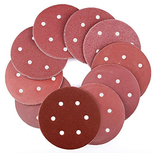 OxoxO 60pcs 5 Inch Sanding Discs 6-Hole Dustless Hook-and-Loop 400 Grit Sandpaper Assortment for Random Orbital Sander Grinder Pads