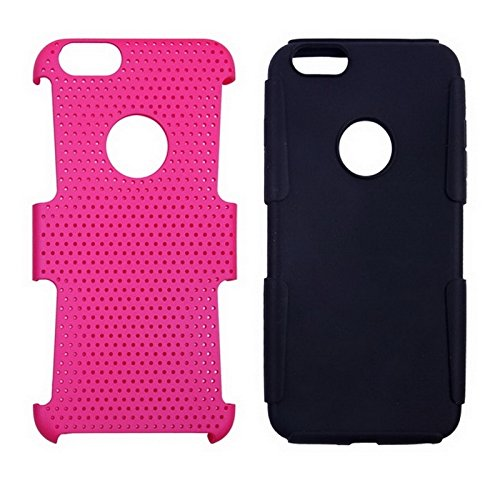 Phone case & Hülle Für iPhone 6 Plus / 6S Plus, 2 in 1 Split Sliding Silikon + Kunststoff Kombi-Gehäuse mit Halter ( Color : Blue ) Magenta