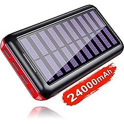 KEDRON Batterie Externe 24000mAh Chargeur Solaire Portable avec Deux Entrées et 3 Ports USB de Power Bank Batterie pour Smartphone, et Autres...