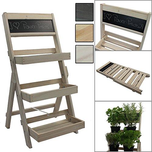 Escalier pour pots de fleurs en bois FSC® avec tableau pour faire des annotations - Bois impregné et résistant aux intempéries et durable, Couleur:Blanc