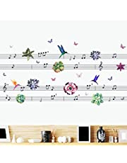 Oren Empower Musical Notes Wall Sticker for Fans (Finished Size on Wall - 124(w) X 60(h) cm)