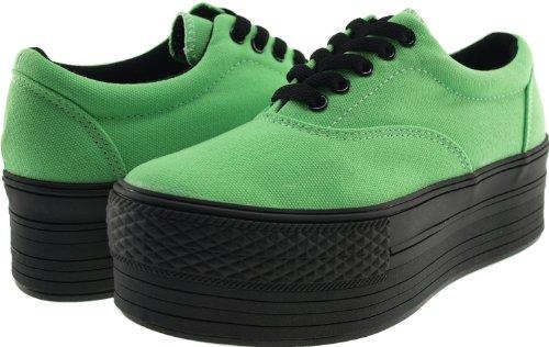 Maxstar C50 5 trous à plateforme basse Casual Baskets Chaussures bateau Vert - vert