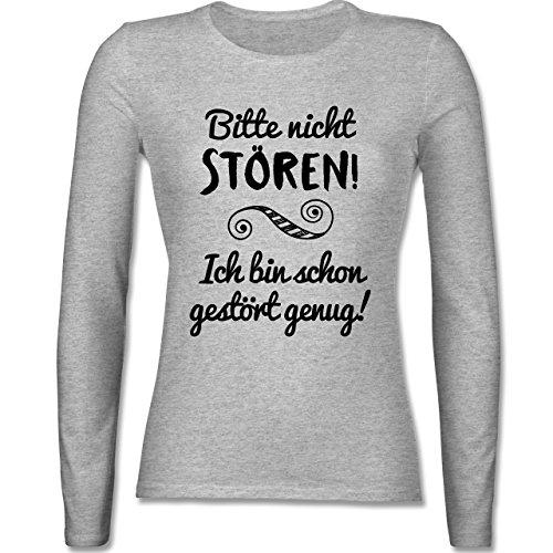 Shirtracer Sprüche - Bitte Nicht stören! - M - Grau meliert - BCTW071 - Langarmshirt Damen