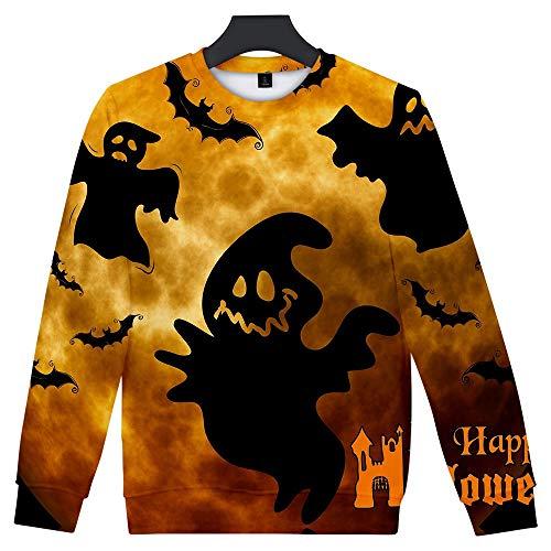 ZHANSANFM Halloween Kostüme Unisex 3D Drucken Pullover Ärger Kürbis Printed Shirt Gruselige Skelett Sweatshirt mit Horro Muster Regular Fit Pulli Hoodie Weihnachten Party (XL, Braun2 - Crossover Neck Sweater