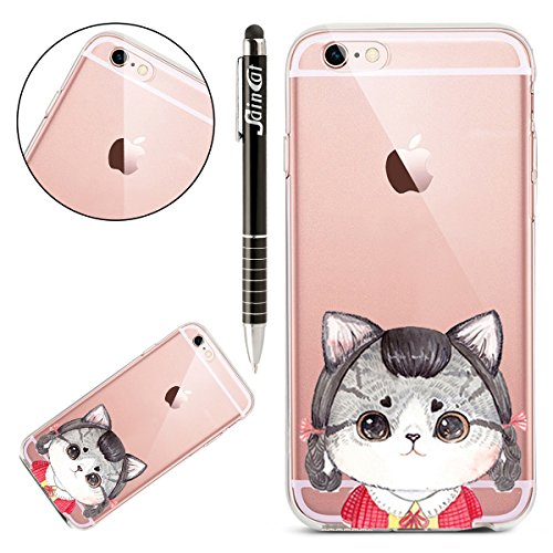 Custodia iPhone 6 Plus, iPhone 6S Plus Cover Silicone Trasparente, SainCat Cover per iPhone 6/6S Plus Custodia Silicone Morbido, Shock-Absorption Custodia Ultra Slim Transparent Silicone Case Ultra So Gattino #13