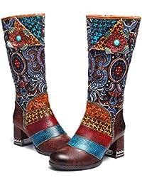07baeff23b21f Camfosy Bottes Hautes Talons Femmes, Chaussures de Ville Hiver en Cuir avec  Fourrure à Talons