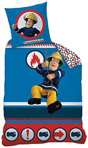 CTI La parure de lit en fine flanelle Sam le pompier 80x80 / 135x200 cm, bleu et blanc