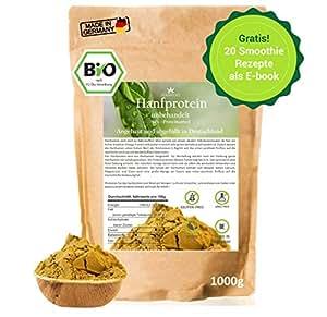 Hanfprotein Bio 1kg aus Deutschland + Gratis Rezeptbuch - Hanfsamen-pulver veganes, pflanzliches Protein-pulver roh für dein Müsli und Smoothie, vegan, glutenfrei